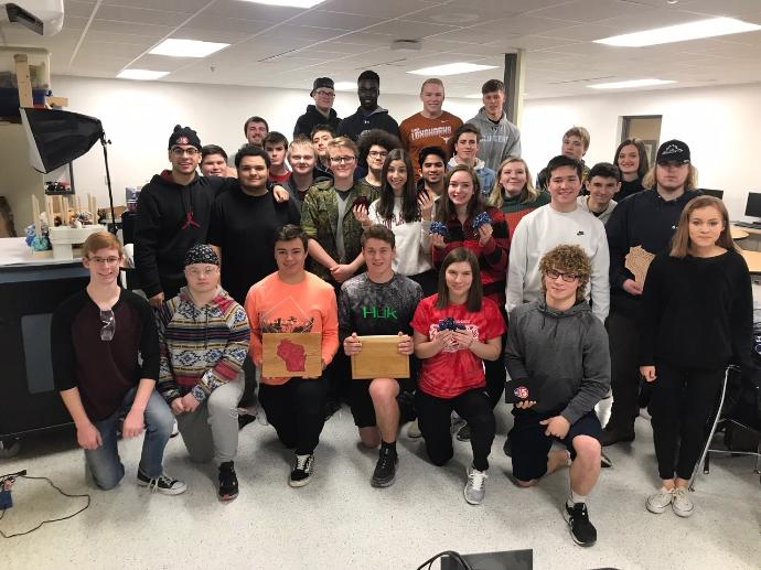 Photo of McFarland students who run manufacturing company.