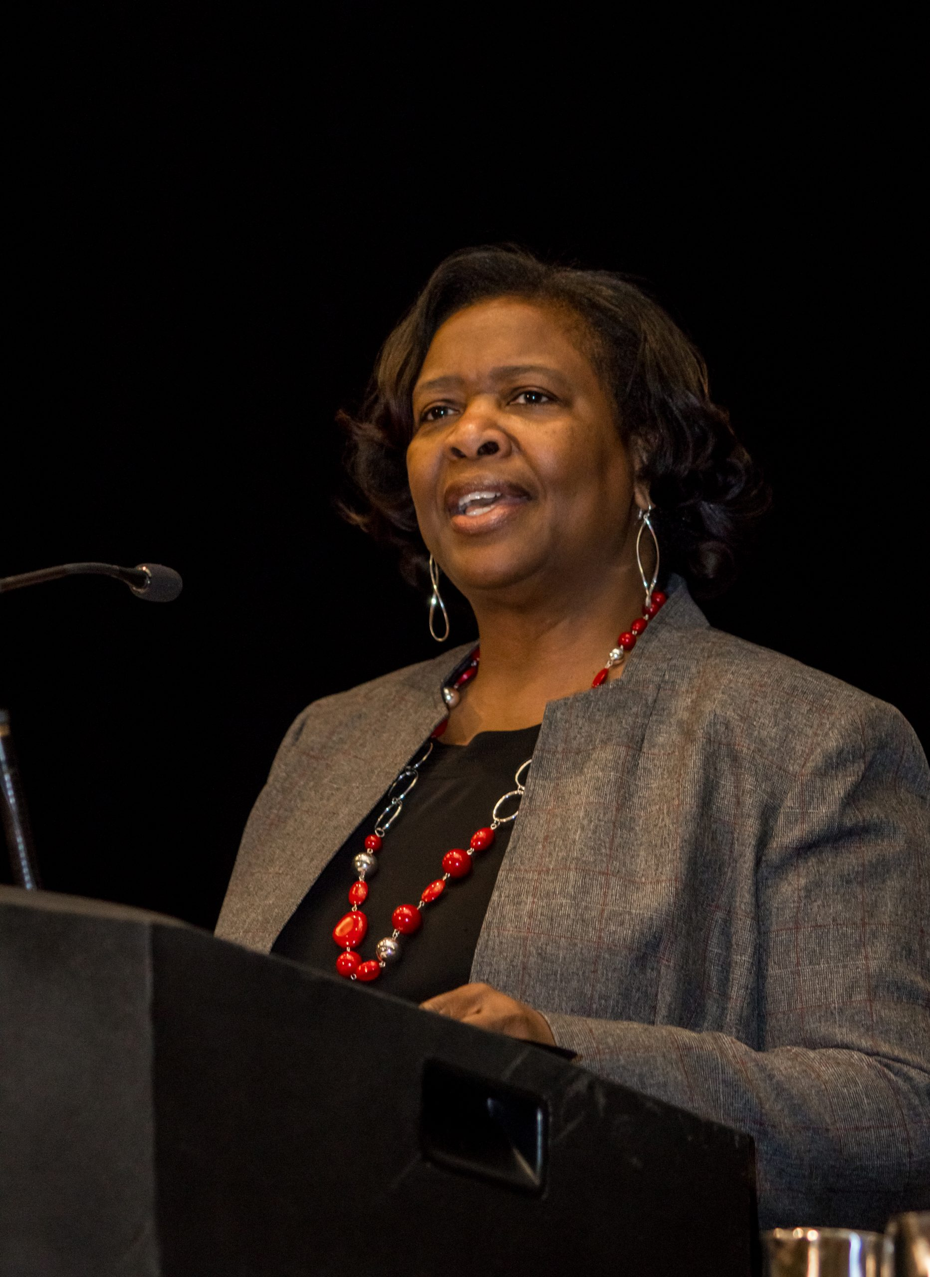 State Superintendent of Education Carolyn Stanford Taylor speaks at podium.