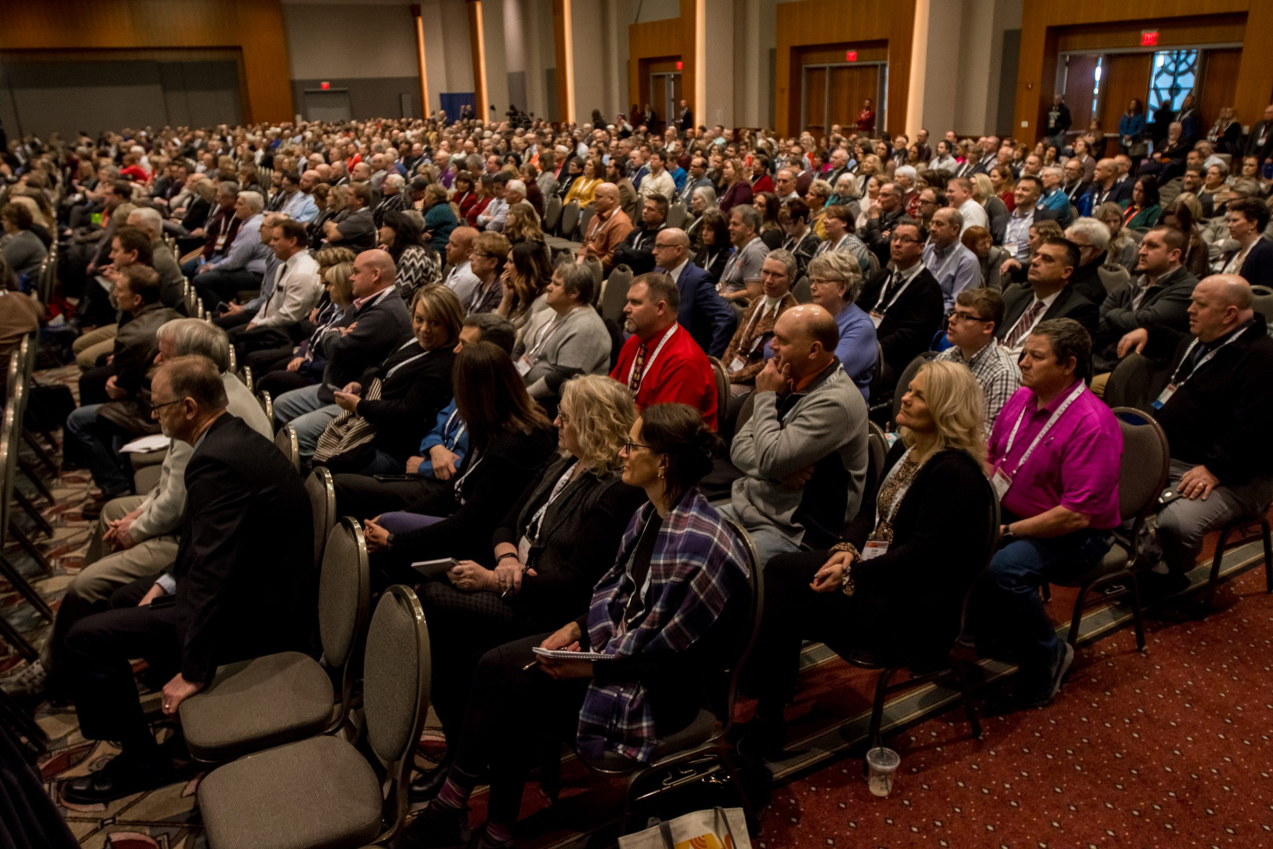 Attendees at the State Education Convention attend a general session.