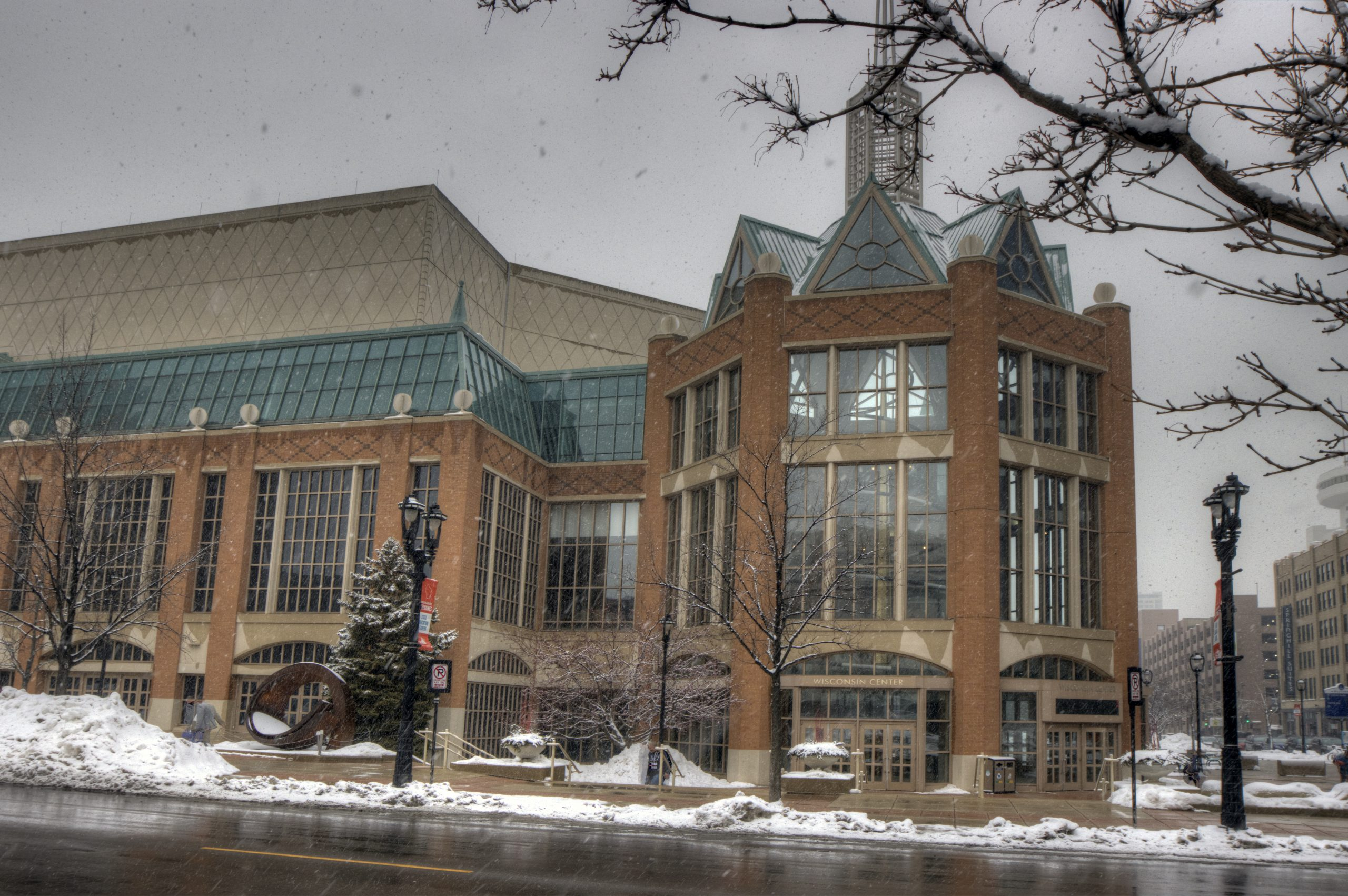 The Wisconsin Center, the site of the State Education Convention, in winter.