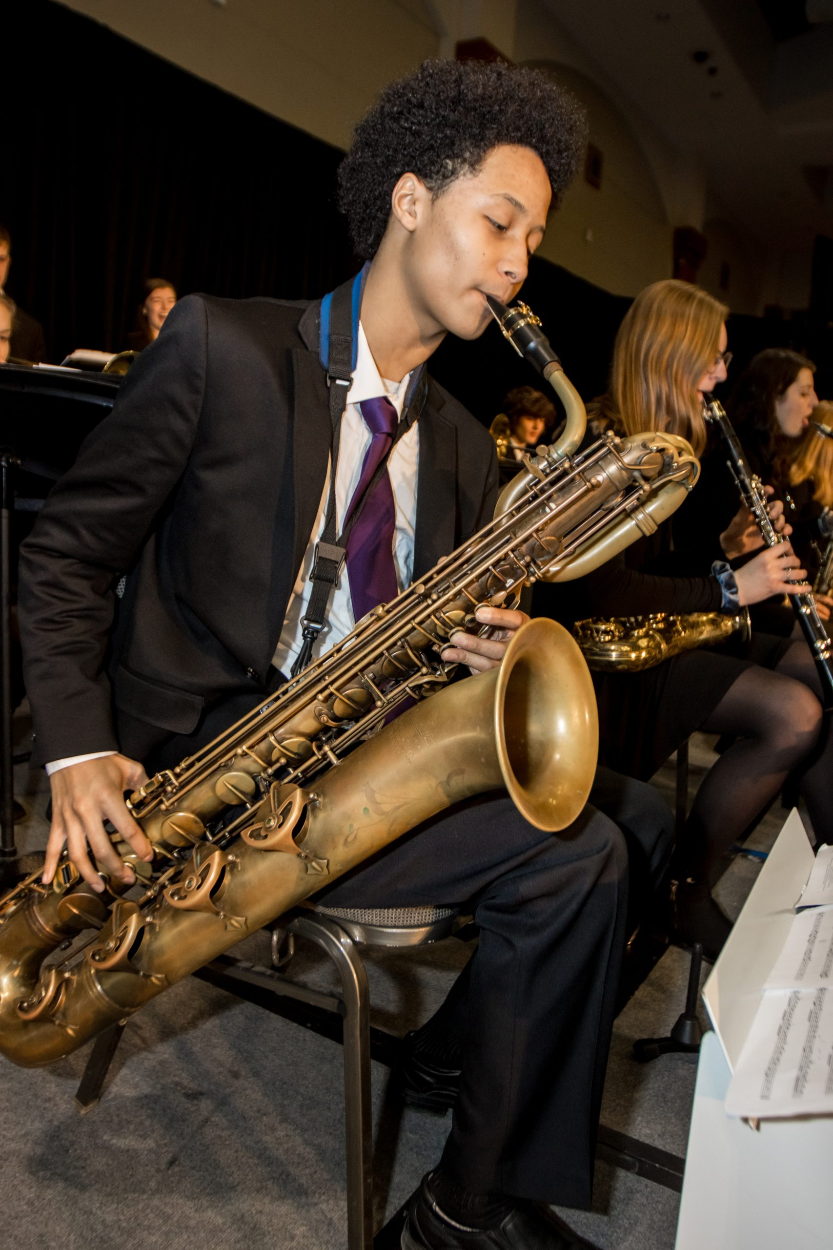 A student in the Beloit Memorial High School Jazz Orchestra plays at the State Education Convention.