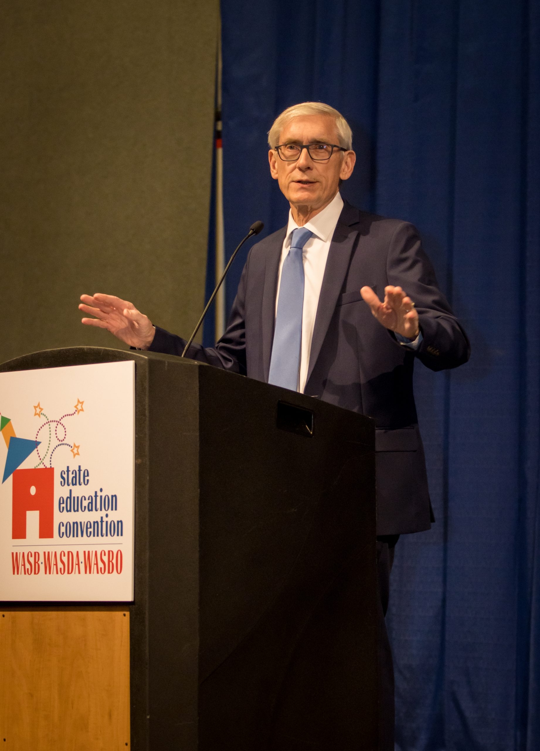 Gov. Tony Evers addresses the 2020 State Education Convention.